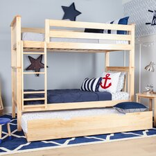 Solid Wood Twin Bunk Bed with Trundle Bed