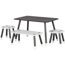 Rowan Valley Clover Kids 4 Piece Chalkboard Rectangular Table and Chair Set