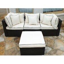 Burruss Wicker 4 Piece Sofa Set with Cushions