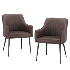 Luxury Modern Brown PU Leather Arm Chair (Set of 4)