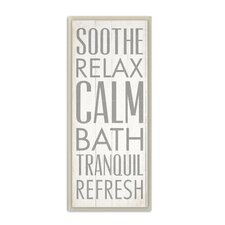 'Soothe Relax Calm Bath' Textual Art Wall Plaque