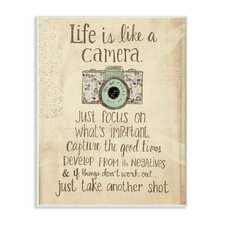 'Life Is like a Camera' Inspirational Textual Art Wall Plaque