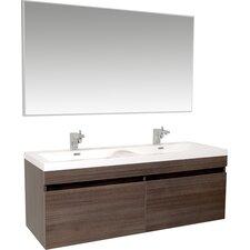 "Senza 57"" Double Bathroom Vanity Set with Mirror"
