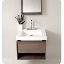 "Senza 27"" Potenza Single Modern Bathroom Vanity Set with Mirror"