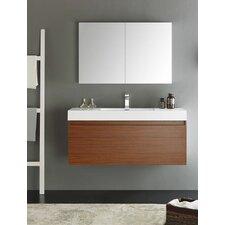 Senza 48 Mezzo Single Wall Mounted Modern Bathroom Vanity Set with Mirror by Fresca