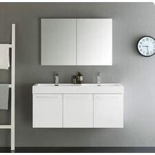 "Senza 48"" Vista Double Wall Mounted Modern Bathroom Vanity Set with Mirror"