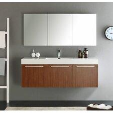 "Senza 60"" Vista Single Wall Mounted Modern Bathroom Vanity Set with Mirror"