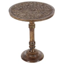 Brenda Wood Carved End Table by World Menagerie