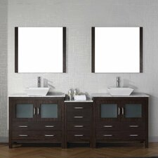 Frausto 79 Double Bathroom Vanity Set with White Marble Top and Mirror by Brayden Studio
