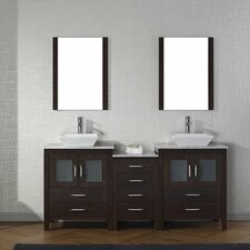 Frausto 67 Double Bathroom Vanity Set with White Marble Top and Mirror by Brayden Studio