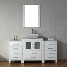 Frausto 64 Single Bathroom Vanity Set with White Marble Top and Mirror by Brayden Studio