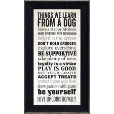 'Things We Learn From a Dog' Framed Textual Art
