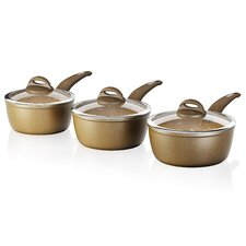 3 Piece Non-Stick Forged Pan Set with Lid