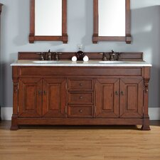 Bedrock 72 Double Warm Cherry Bathroom Vanity Set with Drawers by Darby Home Co