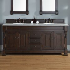 Bedrock 72 Double Burnished Mahogany Bathroom Vanity Set with Drawers by Darby Home Co