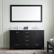 Stoneham 60 Double Bathroom Vanity Set with White Marble Top and Mirror by Latitude Run