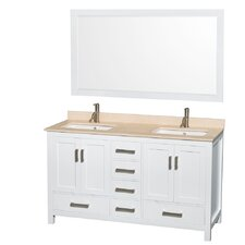 Sheffield 60 Double White Bathroom Vanity Set with Mirror by Wyndham Collection