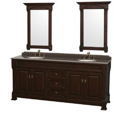 Andover 80 Double Dark Cherry Bathroom Vanity Set with Mirror by Wyndham Collection