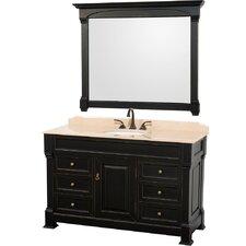 Andover 55 Single Antique Black Bathroom Vanity Set with Mirror by Wyndham Collection