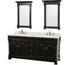 Andover 72 Double Antique Black Bathroom Vanity Set with Mirror by Wyndham Collection