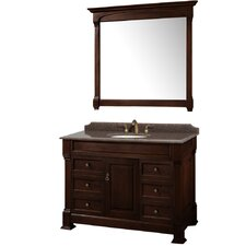Andover 48 Single Dark Cherry Bathroom Vanity Set with Mirror by Wyndham Collection