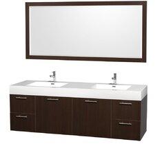 Amare 72 Double Espresso Bathroom Vanity Set with Mirror by Wyndham Collection