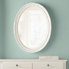 Oval White Wood Wall Mirror