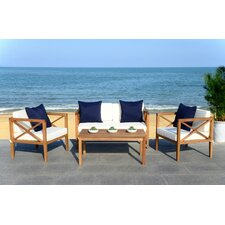 Levine 4 Piece Lounge Seating Group with Cushion