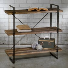 Large 3-Tier Raw Wood and Metal Shelf 47.25 Etagere Bookcase by Tripar