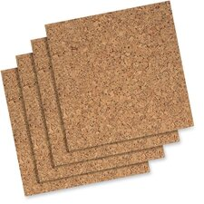 """Cork Panels, Self-heal, 12""""x12"""", 4 per Pack, Natural"""