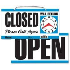 "Open/Close Sign,w/ Please Call Again, 11-1/2""x6"", White/Blue"