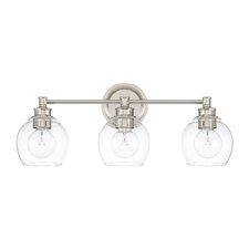 Tyngsborough 3-Light Vanity Light with Clear Glass