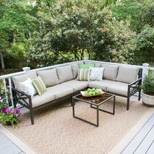 Blakely 5 Piece Aluminum Sectional Seating Group with Cushions