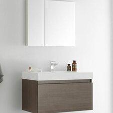 "Senza 36"" Mezzo Single Wall Mounted Modern Bathroom Vanity Set with Mirror"
