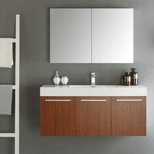 "Senza 48"" Vista Single Wall Mounted Modern Bathroom Vanity Set with Mirror"