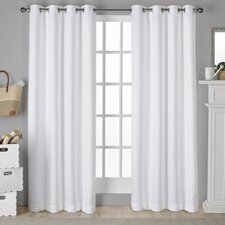 Kim Antique Shantung Twill Woven Solid Blackout Thermal Grommet Curtain Panel (Set of 2)