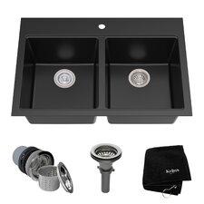 "Granite 33.5"" x 22"" Double Basin Undermount Kitchen Sink"