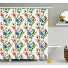 Bradlee Shabby Elegance Decor Mimosas Daisies Flowers Leaves Buds Lilacs Artwork Print Shower Curtain