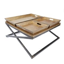 Derrick Industrial Coffee Table with Tray Top by Williston Forge