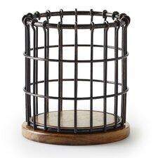 Anvil Cage Wire/Acacia Wood Flatware Caddy