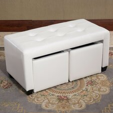 Belote Bicast Leather Double Bin Ottoman by Latitude Run