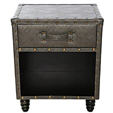 Chelsie Faux Leather Side Table by Williston Forge