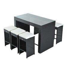 Kemmer 7 PieceRattan Wicker Bar Stool Dining Table Set