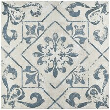"Lotus 17.75"" x 17.75"" Ceramic Patterned Tile in Blue"