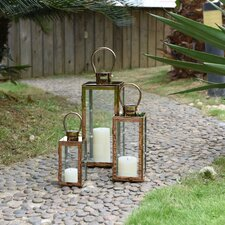 Contemporary 3 Piece Glass/Metal Lantern Set (Set of 3)