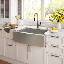 "Stainless Steel 33"" x 20.75"" Farmhouse Kitchen Sink with NoiseDefend™ Soundproofing"