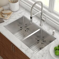 "Stainless Steel 32.75"" x 19"" Double Bowl Undermount Kitchen Sink with NoiseDefend™ Soundproofing"