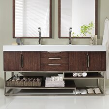 Hulett 72 Double Coffee Oak Bathroom Vanity Set by Brayden Studio