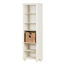 Hopedale Narrow 6-Shelf 71 Standard Bookcase with Rattan Basket by South Shore