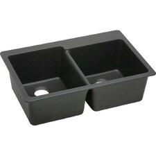 """Quartz Classic 33"""" x 22"""" Double Bowl Top Mount Kitchen Sink"""